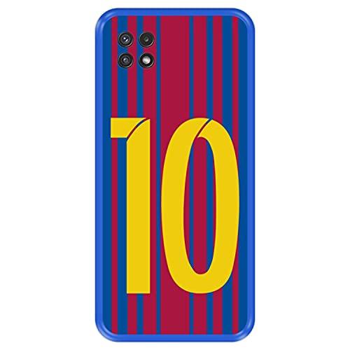 Hapdey Funda Azul para [ Samsung Galaxy A22 5G ] diseño [ Ilustración fútbol, número 10 ] Carcasa Silicona Flexible TPU