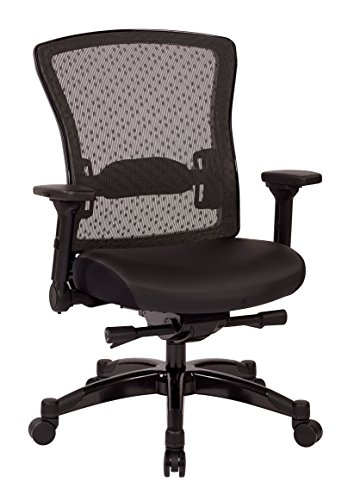 SPACE Seating Professional R2 SpaceGrid Back Chair with Padded Memory Foam Eco Leather Seat, 2-to-1 Synchro Tilt Control, 4-Way Adjustable Flip Arms, and Gunmetal Finish Accents Managers Chair, Black Eco Leather Managers Chair