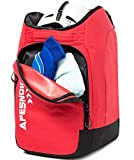 APESNOIC Ski Boot Bag and Backpack Waterproof Ski and Snowboard Boots Travel Bag for Ski Helmet, Goggles, Gloves, Skis, Snowboard & Accessories. (RED-F)