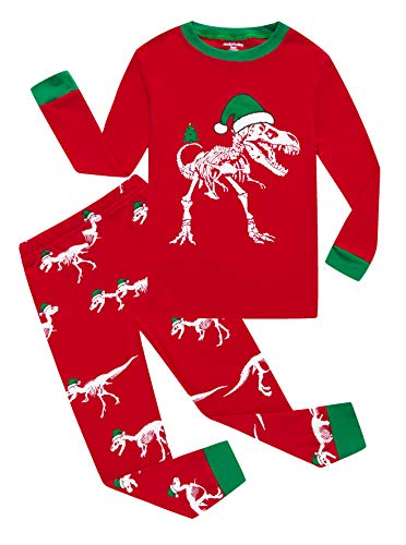Family Feeling Little Girls Boys Long Sleeve Christmas Pajamas Sets 100% Cotton Holiday Pyjamas Toddler Kids Pjs Red Size 4T Dinosaur
