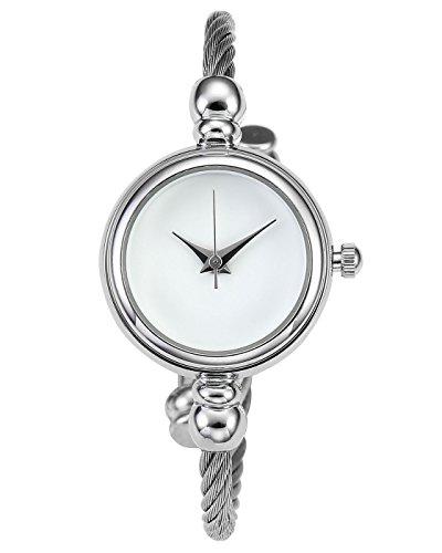 JSDDE Uhren Damen Chic Spangenuhr Armbanduhr Kleideruhr Manschette Metallband Damenuhr Zeitlos Design Zifferblatt Armreif Uhr Analoge Quarzuhr (Silber Band-Weiß)