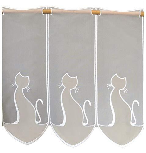 heimtexland  Tenda a pannello a forma di gatto su misura, in voile, altezza 45 cm, larghezza su richiesta, con incrementi di 16 cm, modello 668