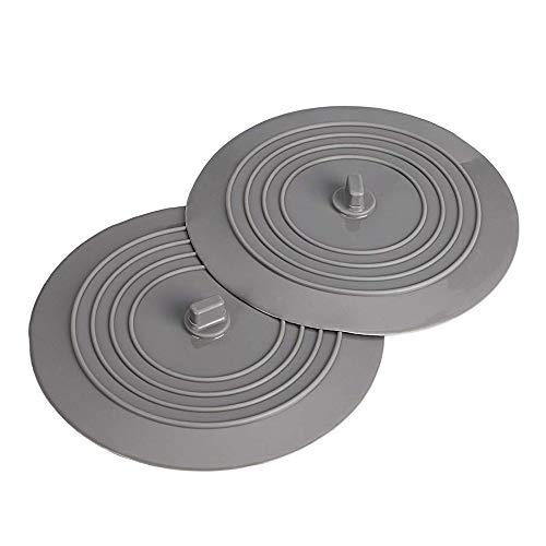 Amasawa 2 Stück Silikonablassschraube, 6 Zoll Silikon Wanne Stopper Ablassschraube für Küche, Waschbecken, Bäder und Wäschereien (Grau)