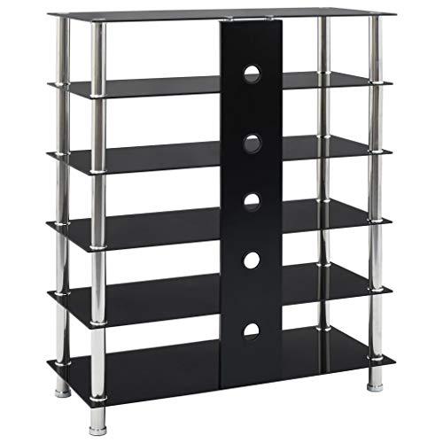 Festnight Mueble para Equipo HiFi de Vidrio Templado y Acero Inoxidable Negro 90 x 40 x 113 cm con 5 Estantes