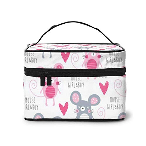 Makeup Bag Mouse Love Portable Travel Cosmetic Bag Organizer Multifunction Case with Double Zipper Toiletry Bag for Woman (9'x6.2'x6.5')