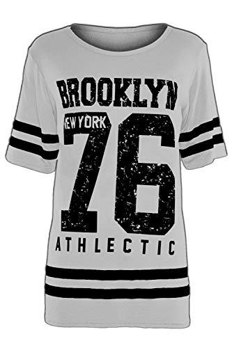 Oops Outlet damen neu TRIKOT 68 Aufdruck Streifen Uni Fußball Baseball überdimensional Baggy T-Shirt Oberteil Übergröße EU 36-50 - BROOKLYN 76 grau, M/L (UK 12/14)