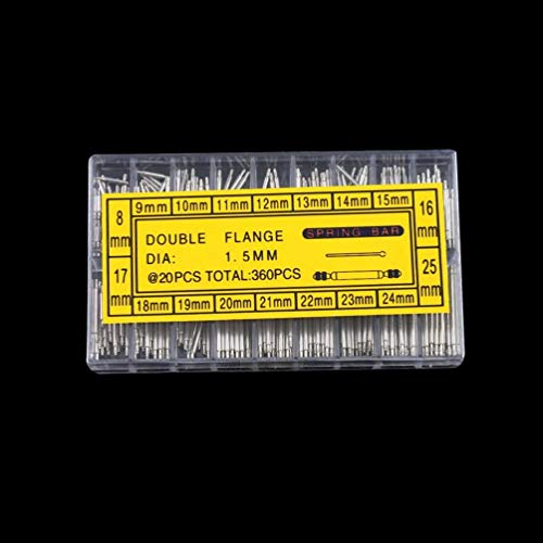 360Pcs 8-25Mm Banda de Reloj Barras de Resorte Correa Pasadores de Enlace Reparación Herramientas de relojero (Negro)