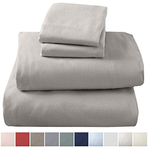 Extra Soft 100% Turkish Cotton Flannel Sheet Set. Warm, Cozy, Lightweight, Luxury Winter Bed Sheets in Solid Colors. Nordic Collection (King, Light Grey)