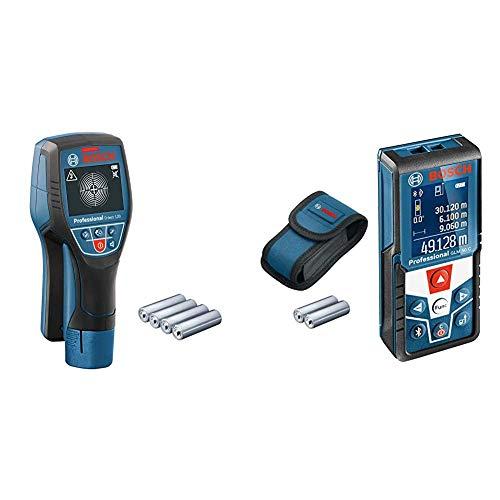 Bosch Professional Ortungsgerät D-tect 120 (4 x AA Batterien, Eisenmetalle: 60/38/60/120/120 mm) & Laser Entfernungsmesser GLM 50 C (max. Messbereich: 50 m, 2X 1,5-V Batterien, Schutztasche)