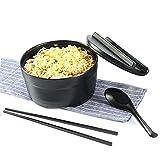 YAHAO Juego de cuenco y cuchara japonesa con tapa de melamina con cuchara y palillos a juego tazón grande para fideos, Udon, Soba, Pho (negro), 7 pulgadas
