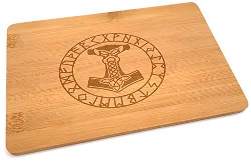 Samunshi® Holzbrett mit Gravur Mjölnir Runen aus Bambus Brett Schneidebrett klein Brotzeitbrett Holz Schneidebretter Holzbrett Küche