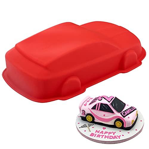 YISUYA Auto-Kuchenform, 3D-Auto-Backform, Neuheit-Kuchenform, Silikon-Auto-Form, Antihaft-Auto-Kuchenform zum Backen, DIY Geburtstags-Kuchenform, Silikon auto für Kuchen, Pudding, Gelee(Rot)