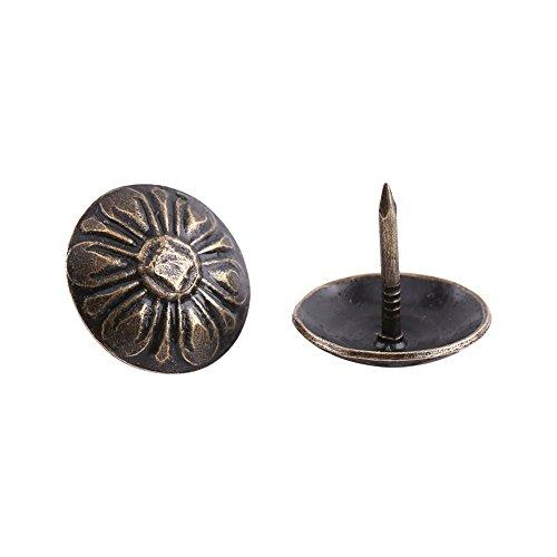 Akozon Antik Dekor Nägel,100 stück Vintage Bronze Polsterung Nägel Bronze Metall Tags DIY Dekorative Möbel Ziernägel Möbel Sofa Schuh Tür Dekorative Tack Stud set(Chrysanthemum green bronze 16*15mm)