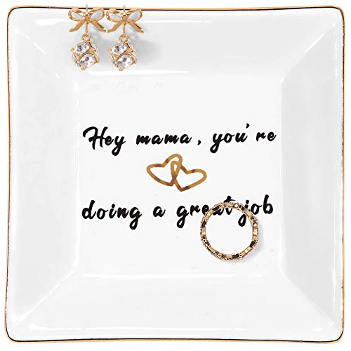 Kaidouma Birthday Gifts for Mom from Daughter Son Ring Trinket Dish Jewelry Tray Mother's Day Christmas Gift for Mother - Hey Mama, You're Doing a Great Job
