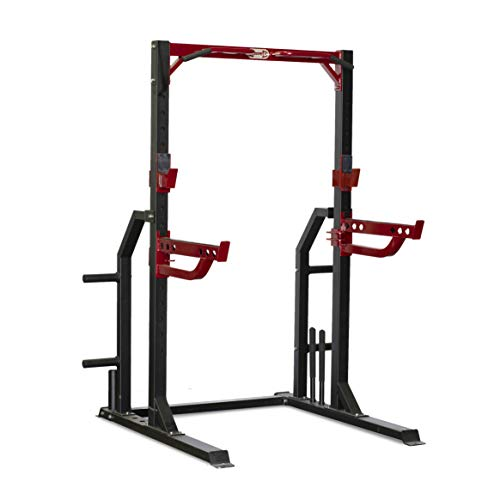 Muscle D VHC Adjustable Squat Half Rack with Pull Up Bar Weight Plate Tree and Included J-Hooks, Safety Spotter Arms, and Barbell Holder