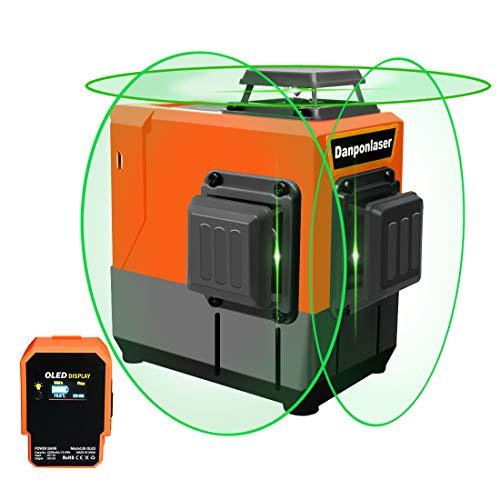 Danpon レーザー墨出し器 グリーン12ライン3×360° クロスライン フルライン照射モデル 大矩 自動補正 OLEDパワーバンク、18650電池ボックス ウォールブラケット付き 高輝度 屋内外対応 非球面ガラスレンズ採用VH-3D