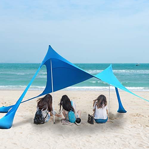 Night Cat Carpa de Playa Sun Shelter Shade Canopy Toldo Protección UV con Anclas de Sacos de Arena Portátiles para Picnic en la Playa