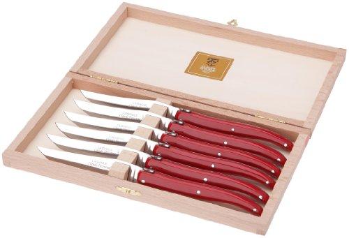 Claude Dozorme 2.60.001.74 Coffret Hêtre 6 Couteaux Steak Laguiole Plein Manche Nacrine Rouge