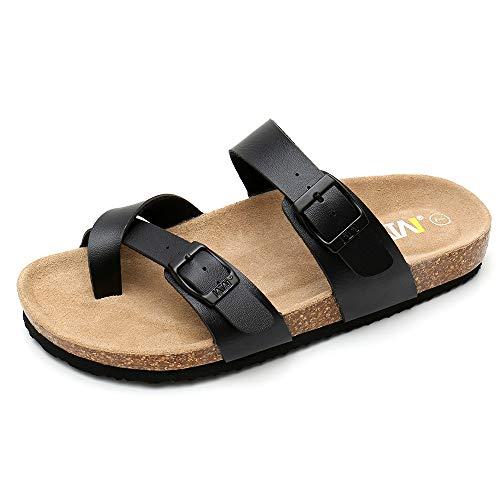 WTW Women Leather Sandals Arizona Slide Shoes (US 8, Black)