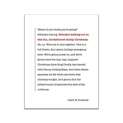 Clark Griswold's Epic Speech - National Lampoon's Christmas Vacation Movie Quote - Unframed 11x14 Art Print - Great Holiday Gift