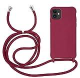 MyGadget Funda con Cordón para Apple iPhone 11 - Carcasa en Silicona con Cuerda - TPU Case Rigida y Opaca con Correa para Llevar en el Cuello in Bordeaux