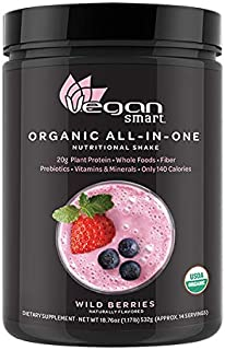 Vegansmart Plant Based Organic Protein Powder by Naturade, All-in-One Nutritional Shake - Wild Berries 18.76 Ounce
