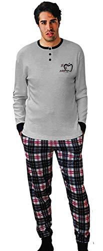 Baci & Abbracci® Pigiama Uomo Invernale 100% Cotone Caldo Interlock Pigiama Uomo Cotone Lungo Elegante Abbigliamento da Notte Maniche Lunghe Due Pezzi (XXL, Modello 10)