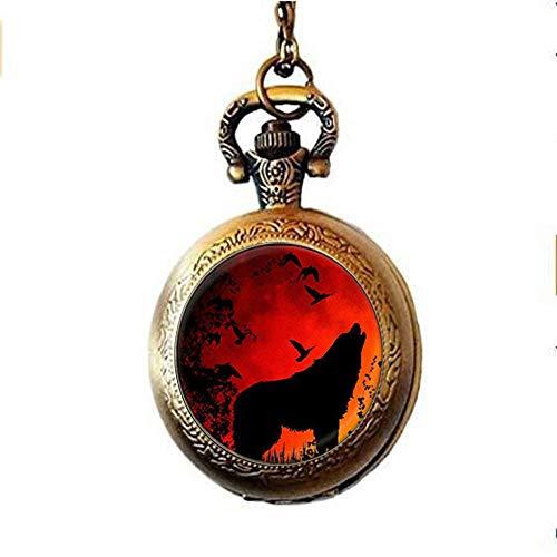Taschenuhr im Vintage-Stil, mit Halskette und Anhänger, Motiv: Heulender Wolf