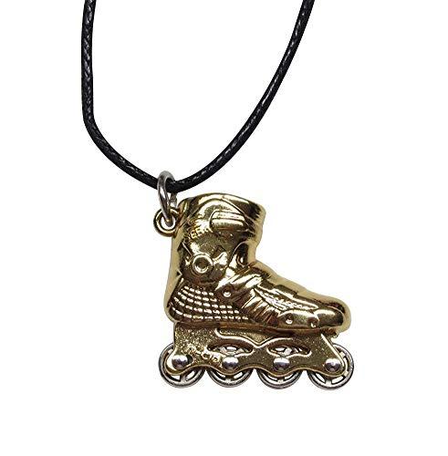 Unbekannt Générique Halskette mit Anhänger, Rollschuhe, goldfarben, Stahl