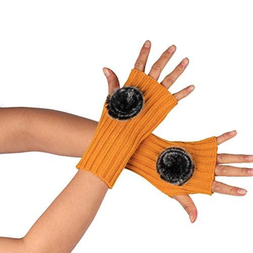Anaisy Damen Winter Knitted Winter Halb Gloves Wärmen Fingerless Handschuhe Strick Handschuhe Gestrickte Fingerlose Festlich Armstulpen (Color : Orange, Size : One Size)