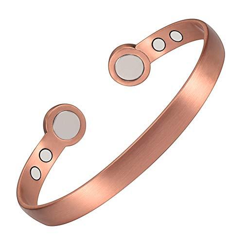 YINOX Pulseras magnéticas de cobre para artritis, hombres y mujeres, brazaletes con 6 potentes imanes ajustables de 19 cm (WCP-0331)