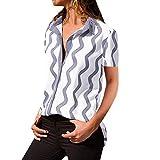 Momoxi Camicia da Donna, T-Shirt A Manica Lunga con Bottoni E Tasche sul Colletto Rivolte Verso Il Basso Top Primavera e Autunno Sexy con Scollo A V Tinta Unita