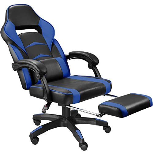 tectake 800769 Silla de Oficina con Reposapiés Plegable, Ergonómica, Gaming PC Ejecutiva, Asiento Deportivo, Respaldo Ajustable, 5 Ruedas Dobles (Negro-Azul   No. 403464)