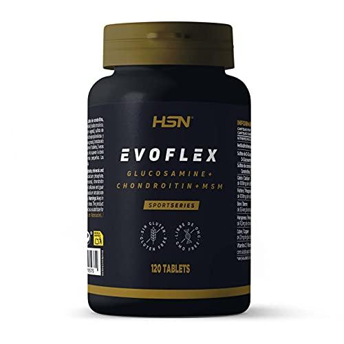Evoflex de HSN | Glucosamina + Condroitina + MSM | Suplemento para las Articulaciones | Antiinflamatorio Natural | Con Vitamina C + Minerales | Sin Pescado, Sin Gluten, Sin Lactosa | 120 Tabletas