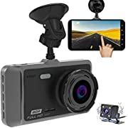 "Dash Cam, MILIEN 1080P Front and Rear Dual Dash Camera with Full HD 4"" LCD Screen, 170° Wide Angle Lens Dashboard Camera with G-Sensor, Loop Recording, Rear View and Motion Detection"