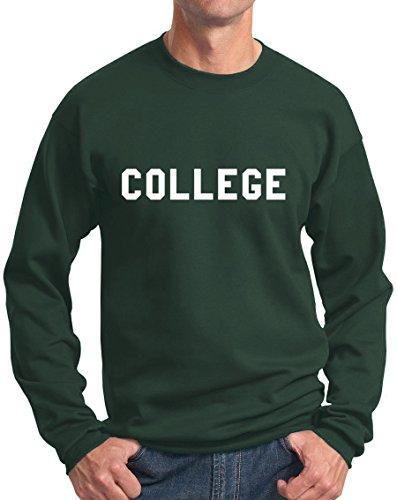 College Sweatshirt Belushi Animal House Comedy Tribute DG XXL Dark Green