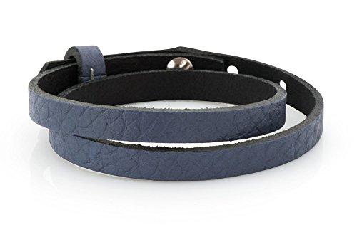 Lederarmband - blau geprägt, 43cm, Schmuck-Armband für Schiebeperlen