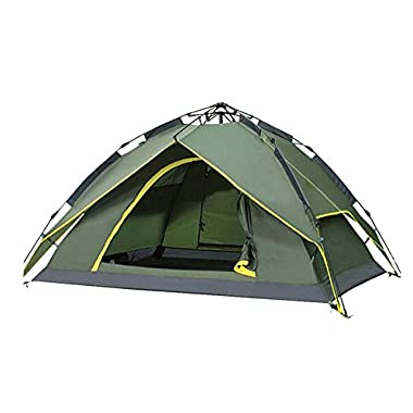 Waterproof Camping Tent 3-4 Person Automatic Quick Open Tent Double Layers Family Tent UV-proof Windproof Folding Backpacking Tent for Hiking Outdoor (Green)