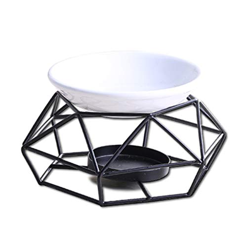 GUMEI 1 Juego de Aceite Esencial de cerámica geométrica Vela Quemador de Aroma de Hierro Forjado Aroma