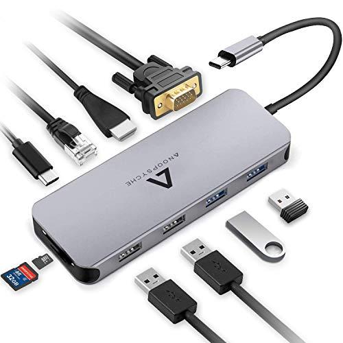 Anoopsyche Hub USB C 10 in 1, Alluminio, Adattatore USB C con HDMI 4K, 1080P VGA, Gigabit Ethernet RJ45, 4 USB 3.0/2.0, Type C PD 100W, Lettore di Schede SD/TF, per MacBook Pro e Laptop Windows Type C