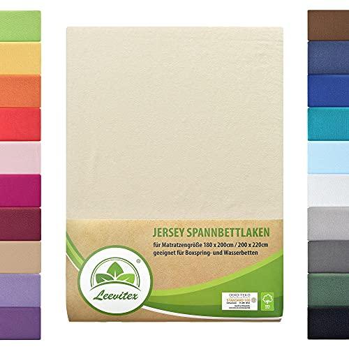 leevitex® Farbenfrohes Spannbettlaken für WASSERBETTEN & BOXSPRINGBETT Spannbetttuch Jersey 180 x 200 - 200 x 220 cm, 40cm Steghöhe 100% Baumwolle ca. 170 g/m² (Creme/Naturweiß)