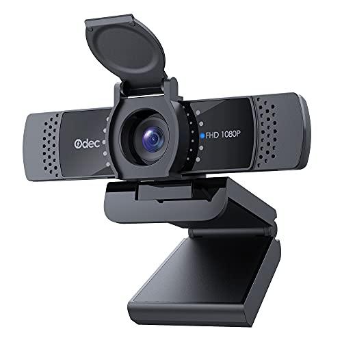 ODEC Webcam per pc con la Privacy, Videochiamata HD 1080p,messa a fuoco automatica, USB 2.0 Plug And Play per, Compatibile con Skype, Zoom, FaceTime, Hangouts, PC Mac XP Android Laptop Tablet