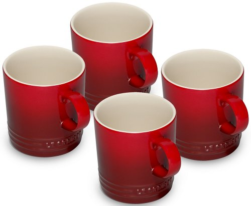 Le Creuset Stoneware Set of 4 Mugs, Cerise, 350 ml