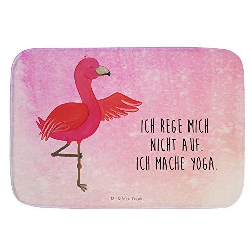 Mr. & Mrs. Panda Duschvorleger, Badematte, Badvorleger Flamingo Yoga mit Spruch - Farbe Aquarell Pink