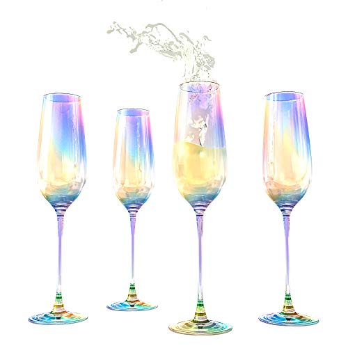 Champagne Flutes Glasses Set of 4 - Lustre Iridescent Glasses - The Wine Savant Large Durable Pearl Color Champagne Glasses Elegant Gift Box, An Ethereal Experience Shine with Luster 8 oz
