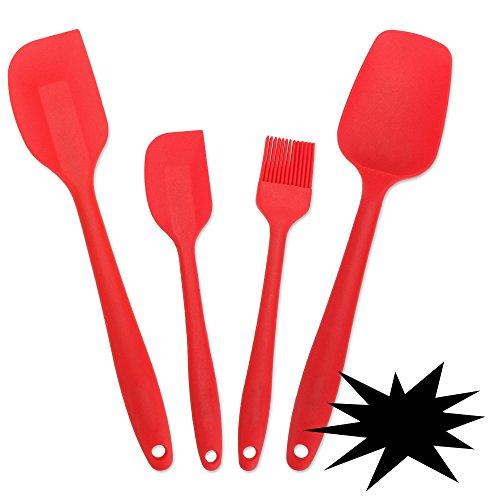 cooshional Set di 4 spatole in silicone per cucinare e cuocere, spatola e spatola, accessori da cucina