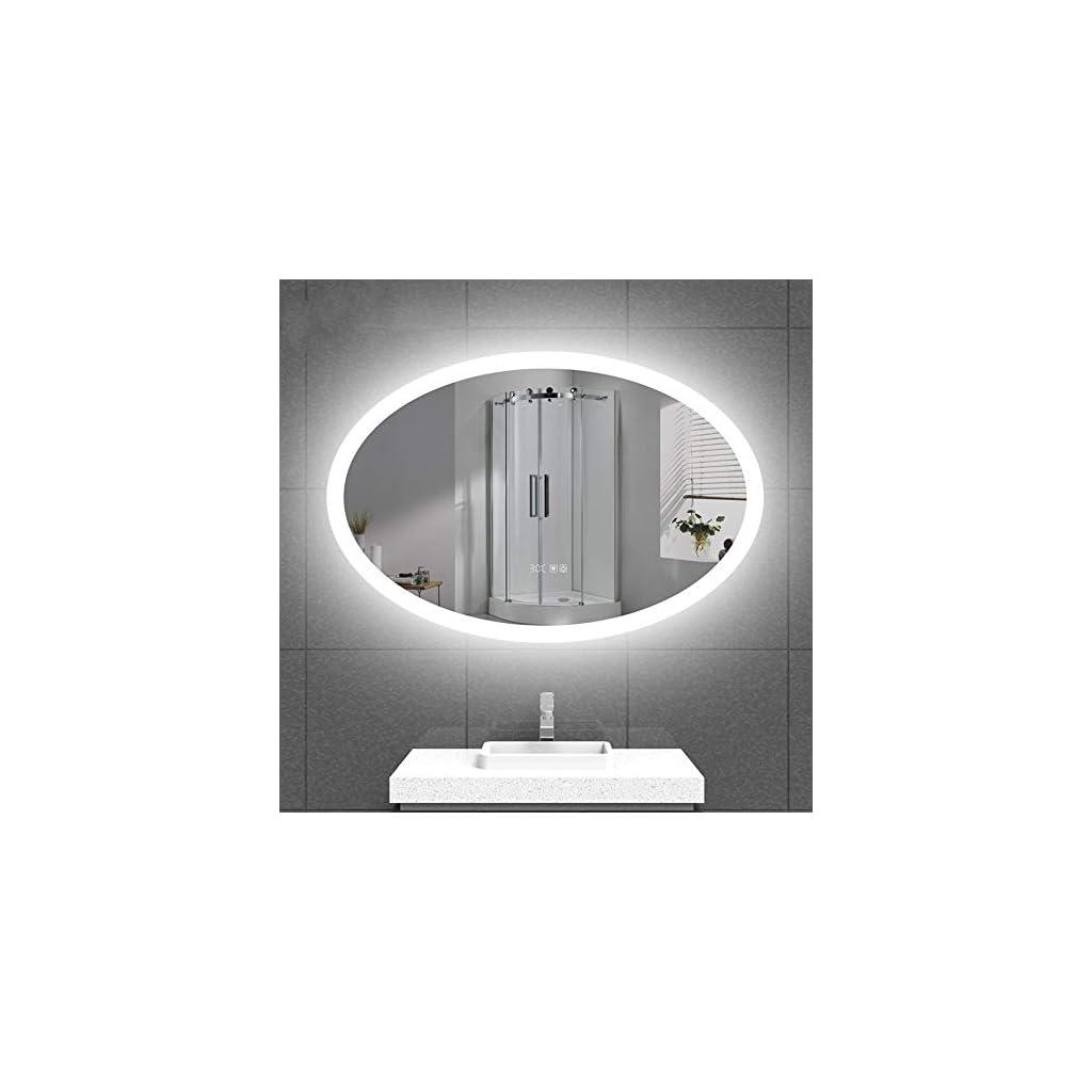 Miroir Mural LED Sans Cadre Smart Bathroom Miroir LED anti-buée tactile mural maquillage imperméable ovale Miroir salle…