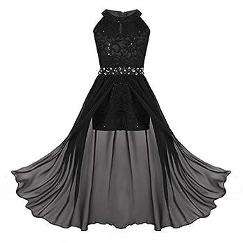 inhzoy Teen Girls Floral Lace Rhinestone Formal Dance Long Romper Dress for Princess Birthday Party School Dancewear Black 10