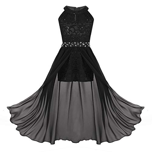 iEFiEL Junior Big Girls High Neck Chiffon Bridesmaid Dress Wedding Party Ball Prom Long Gowns Maxi Romper Black 10