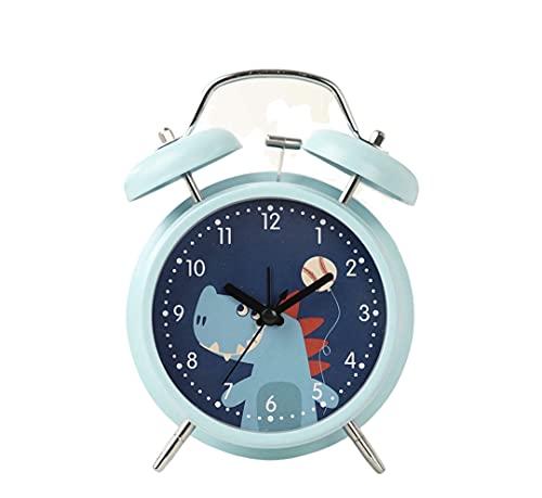 Koawe Despertador infantil de doble campana con luz nocturna y alarma alta, analógico de cuarzo sin tic-tac, despertador de aprendizaje, silencioso y silencioso, funciona con pilas de dinosaur